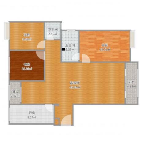 三星凤凰府3室2厅2卫1厨131.00㎡户型图