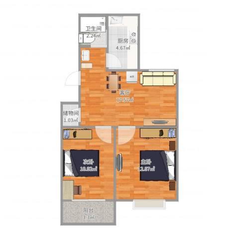 仙鹤茗苑2室1厅1卫1厨66.00㎡户型图