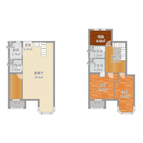 跃界3室2厅3卫1厨133.00㎡户型图