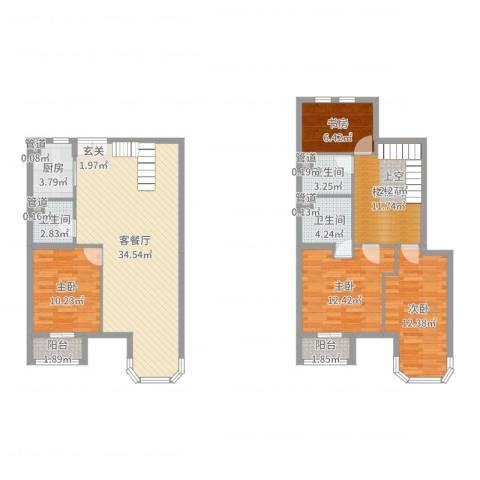 跃界4室2厅3卫1厨133.00㎡户型图