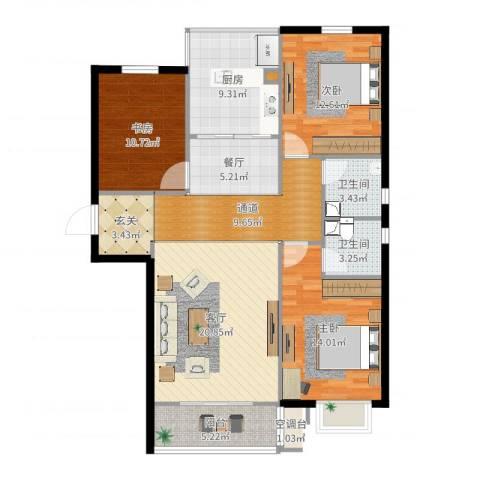 阳光水岸3室2厅2卫1厨122.00㎡户型图