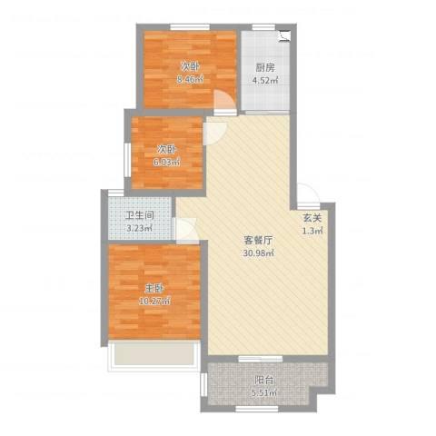 澳海澜庭3室2厅1卫1厨86.00㎡户型图