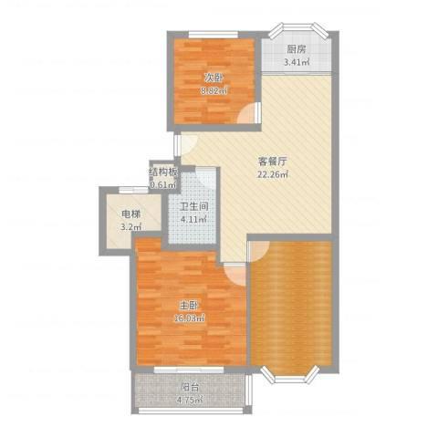 滨海龙城2室2厅1卫1厨96.00㎡户型图