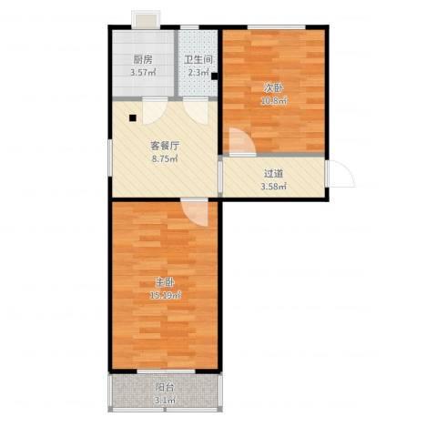 模式口南里2室2厅1卫1厨64.00㎡户型图
