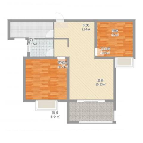 和昌运河尚郡2室2厅1卫1厨96.00㎡户型图