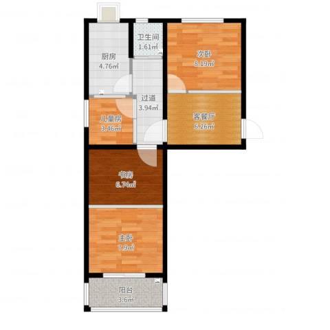 模式口南里4室2厅1卫1厨58.00㎡户型图