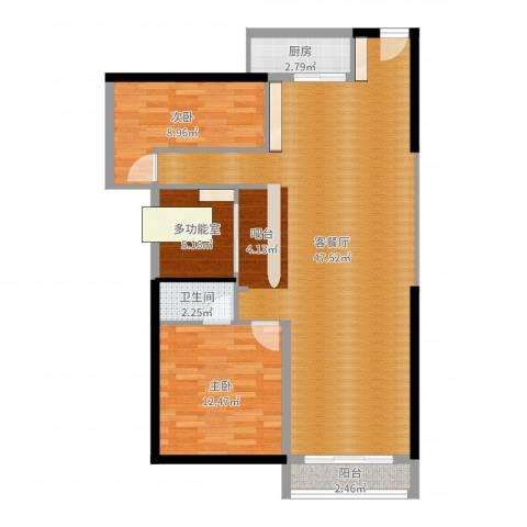 长安地王广场2室2厅1卫1厨102.00㎡户型图