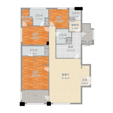 富国高银3室2厅4卫1厨200.00㎡户型图