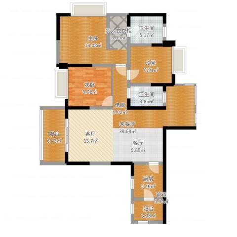 南钻威尼斯3室2厅2卫1厨127.00㎡户型图