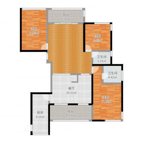 海港城3室1厅2卫1厨147.00㎡户型图