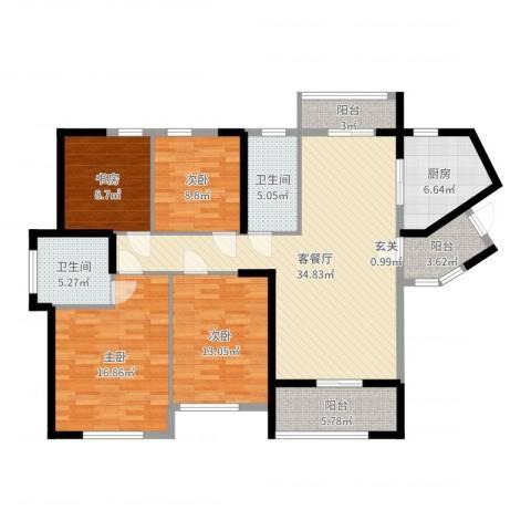 九州丽景苑4室2厅2卫1厨140.00㎡户型图