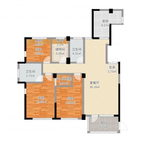 得力浅水湾3室2厅2卫1厨133.00㎡户型图