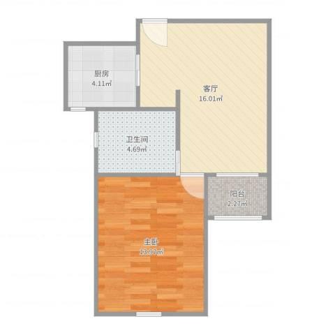 绿地新江桥城1室1厅1卫1厨51.00㎡户型图