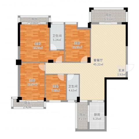 锦绣花城4室2厅2卫1厨164.00㎡户型图