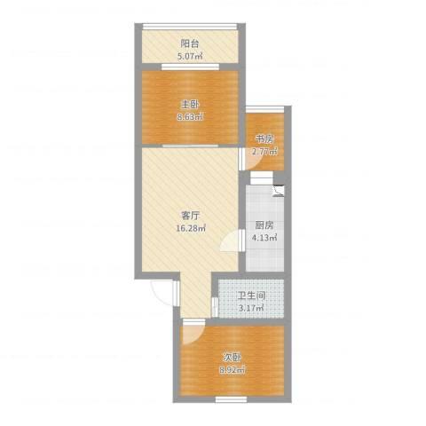 万柳园56.98m3室1厅1卫1厨60.00㎡户型图