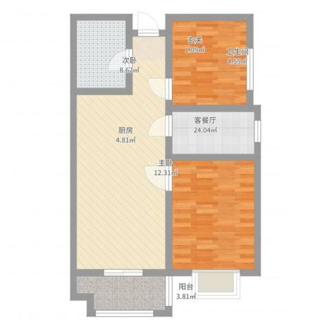 永康华庭2室2厅1卫1厨85.00㎡户型图