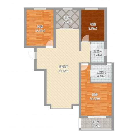 丽景华苑3室2厅2卫1厨110.00㎡户型图
