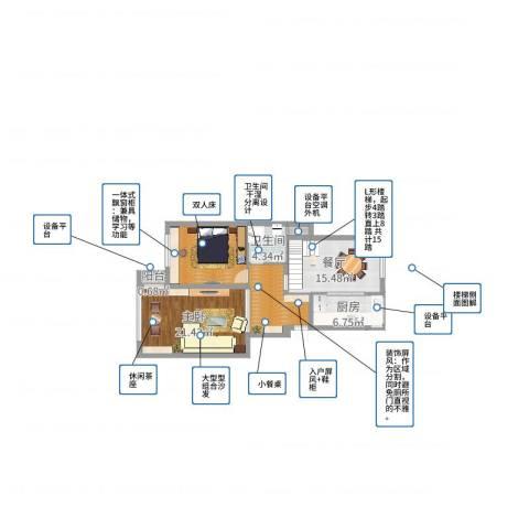 江南华庭1室1厅1卫1厨92.00㎡户型图