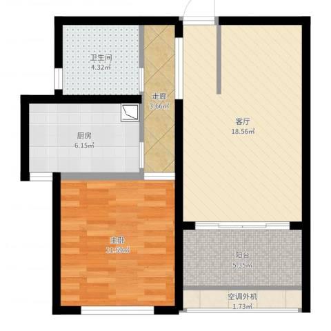 中科苑1室1厅1卫1厨64.00㎡户型图