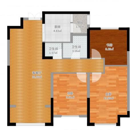 天朗.五珑3室2厅2卫1厨94.00㎡户型图