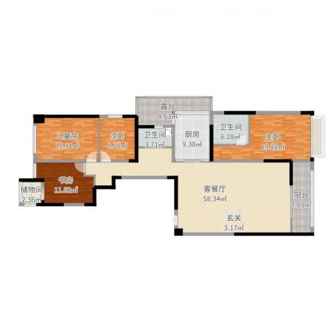 御翠园4室2厅2卫1厨189.00㎡户型图