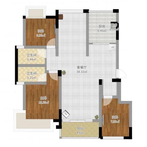 南湖学府3室2厅2卫1厨101.00㎡户型图