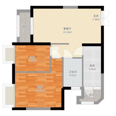 锦城花园2室2厅1卫1厨70.00㎡户型图