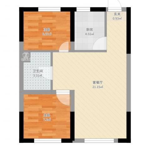 锦城邻里2室2厅1卫1厨53.00㎡户型图