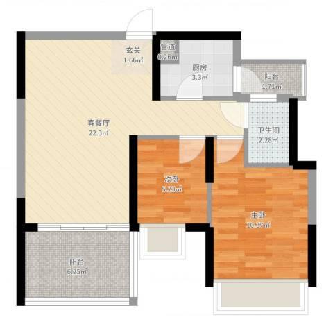 金地梅陇镇二期2室2厅1卫1厨65.00㎡户型图
