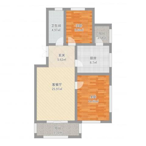 盛世景苑2室2厅1卫1厨88.00㎡户型图