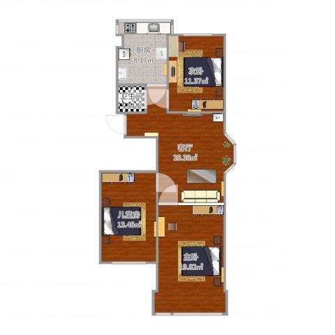 佛山苑3室1厅1卫1厨94.00㎡户型图