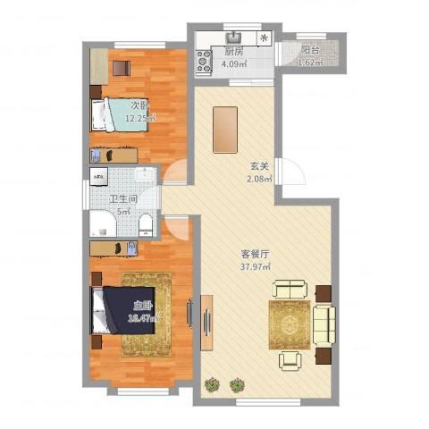 四季花城2室2厅1卫1厨97.00㎡户型图