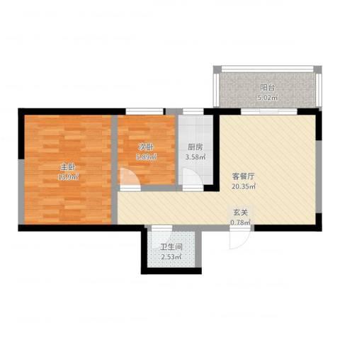 明泽园2室2厅1卫1厨64.00㎡户型图