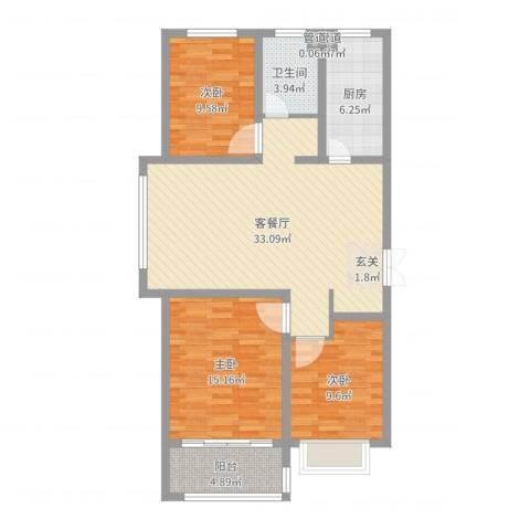 淮海・东城御景3室2厅1卫1厨103.00㎡户型图