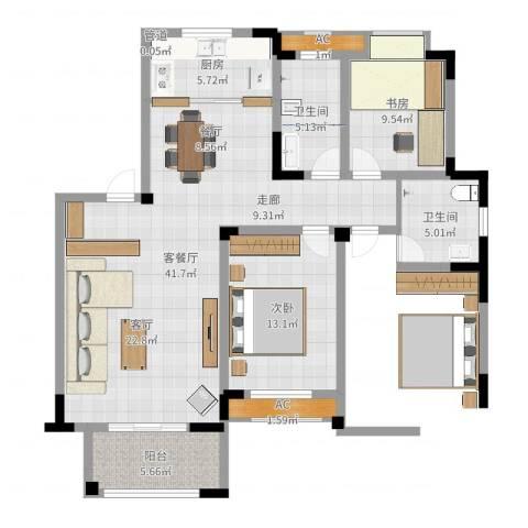 丽景华庭2室2厅2卫1厨111.00㎡户型图
