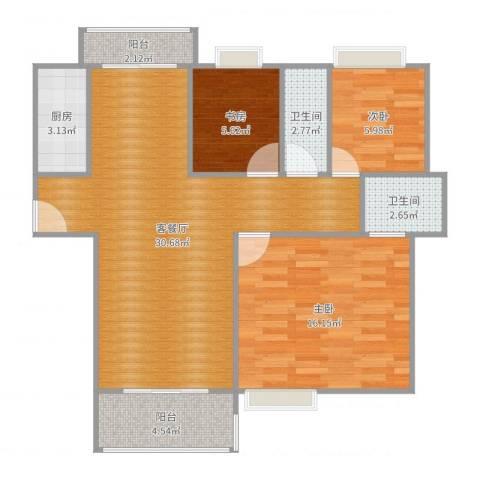 世纪星城3室2厅2卫1厨92.00㎡户型图