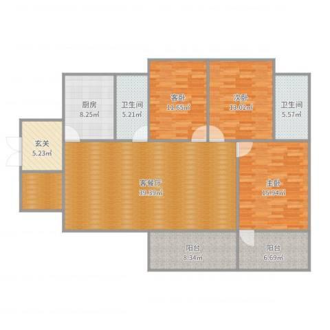 华美美立方3室2厅2卫1厨154.00㎡户型图