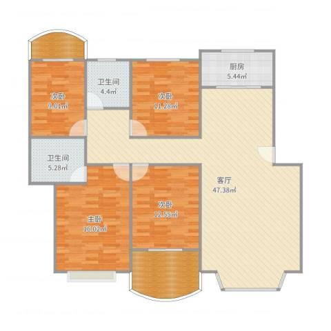 沧海苑4室1厅2卫1厨151.00㎡户型图