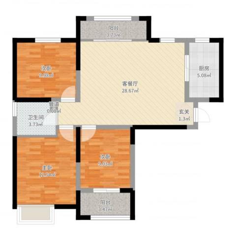 星湖101广场3室2厅1卫1厨95.00㎡户型图