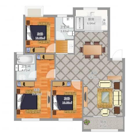 华泰剑桥3室1厅2卫1厨121.00㎡户型图