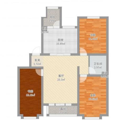 星湖101广场3室1厅1卫1厨107.00㎡户型图