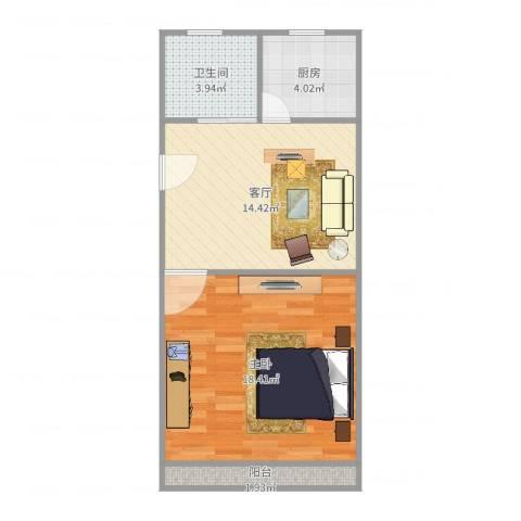 上南十村1室1厅1卫1厨53.00㎡户型图