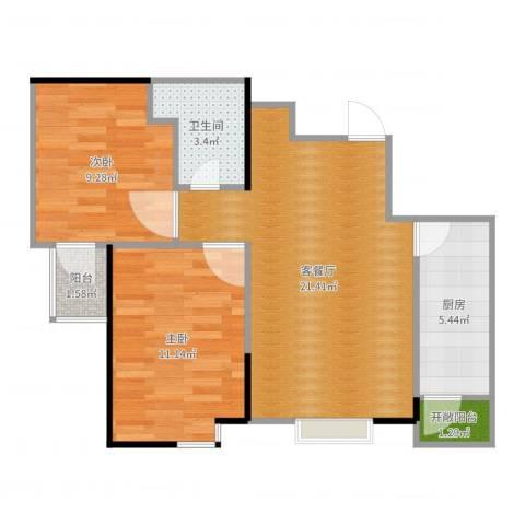 心海阳光2室2厅1卫1厨67.00㎡户型图