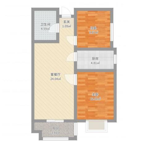 永康华庭2室2厅1卫1厨73.00㎡户型图