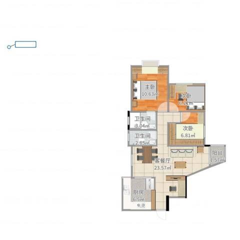 加拿大花园3室2厅2卫1厨76.00㎡户型图