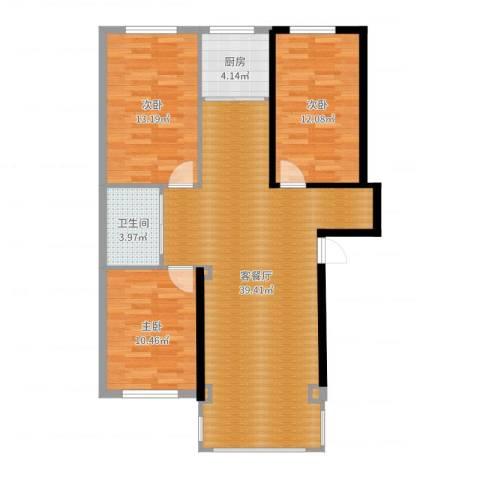 丽景国际3室2厅1卫1厨104.00㎡户型图