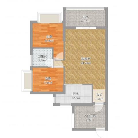 翠堤尚园2室2厅1卫1厨79.00㎡户型图