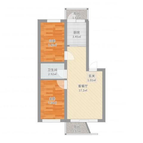 美丽人家2室2厅1卫1厨52.00㎡户型图