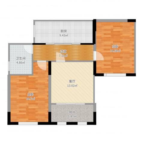 钱隆学府2室1厅1卫1厨87.00㎡户型图
