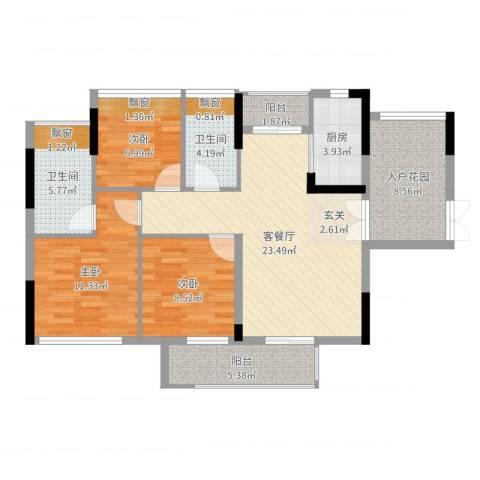 中信德方斯3室2厅2卫1厨100.00㎡户型图